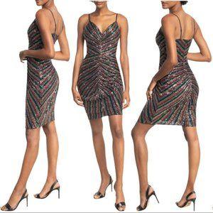Dress The Population Viviane Rainbow Sequin Striped Ruched Dress